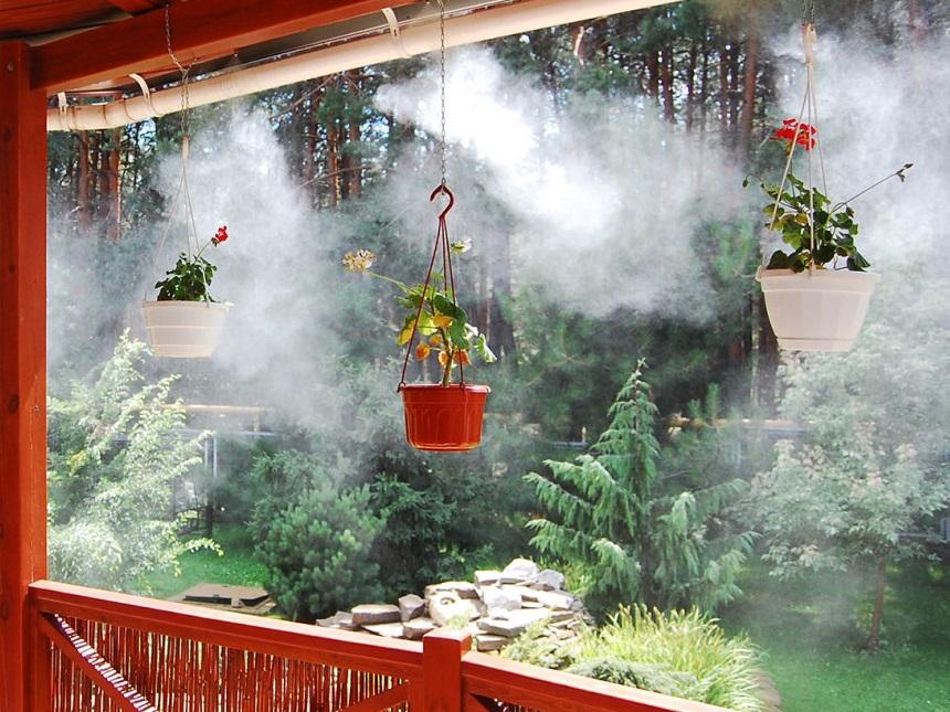 Охлаждение кафе, беседок с помощью системы туманообразования