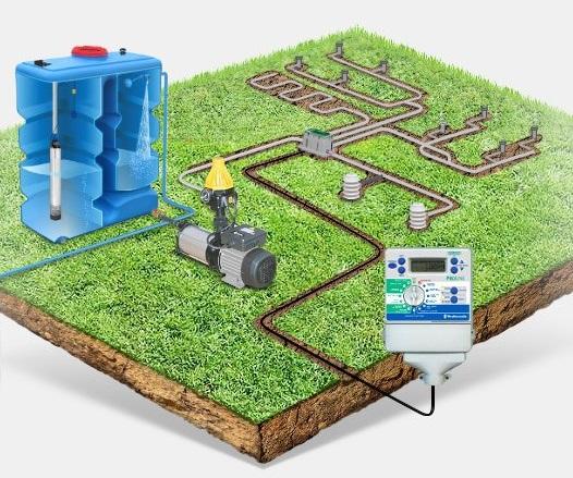 Устройство системы полива газона